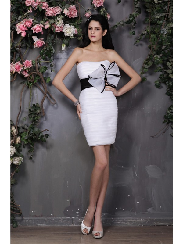 Sheath Strapless Short/Mini White Homecoming Dresses