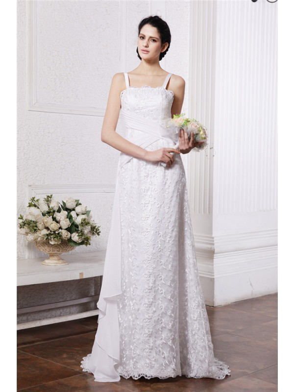 Sheath Square Brush Train White Wedding Dresses