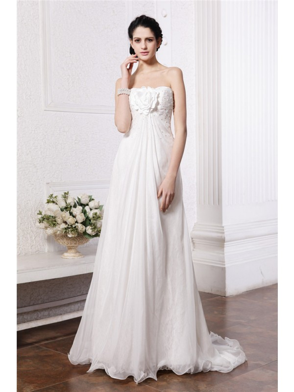 A-Line Strapless Brush Train White Wedding Dresses with Beading