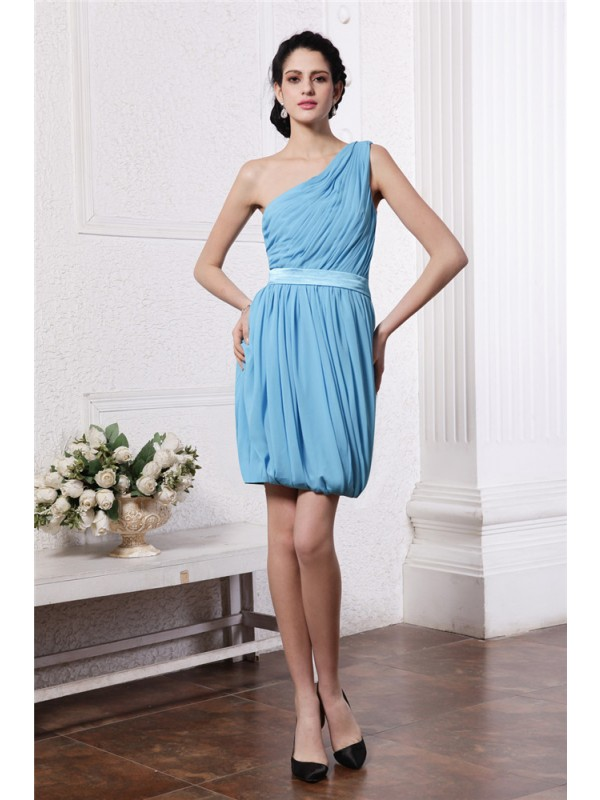Sheath One-Shoulder Short/Mini Light Sky Blue Homecoming Dresses with Pleats