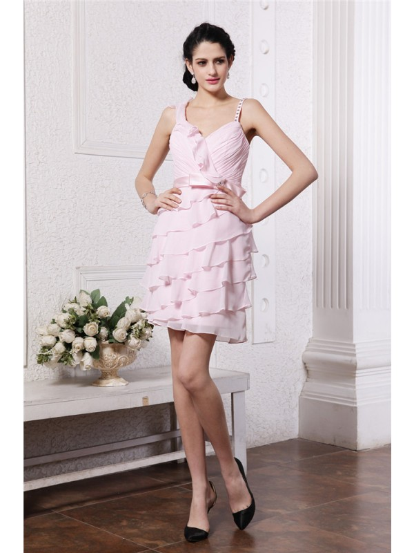 Chiffon Spaghetti Straps Short/Mini Pearl Pink Homecoming Dresses
