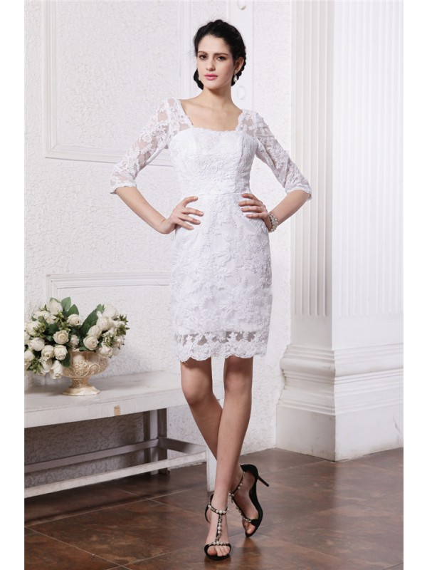 White Sheath Bateau Short/Mini Wedding Dresses with Lace