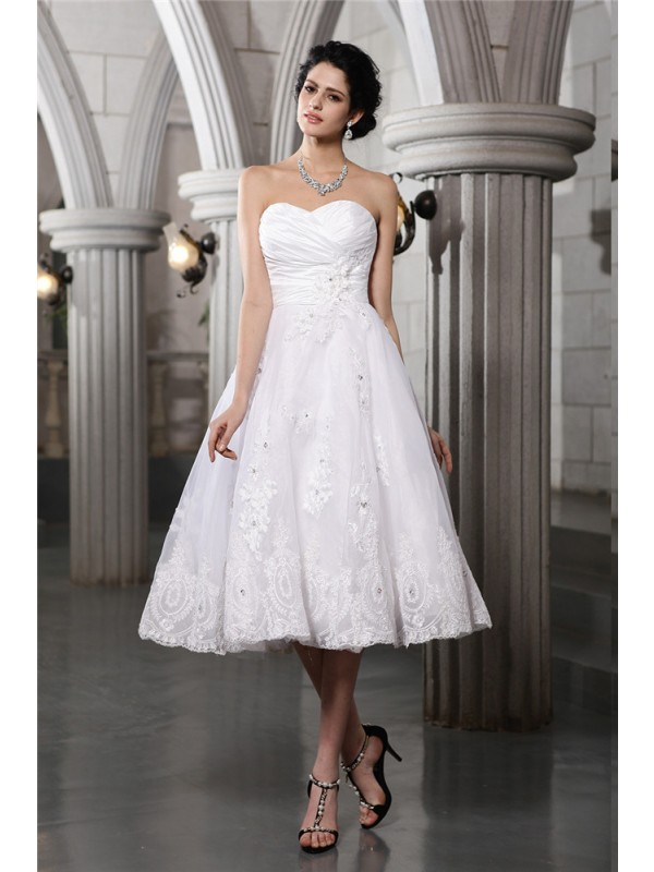 A-Line Sweetheart Tea-Length White Wedding Dresses