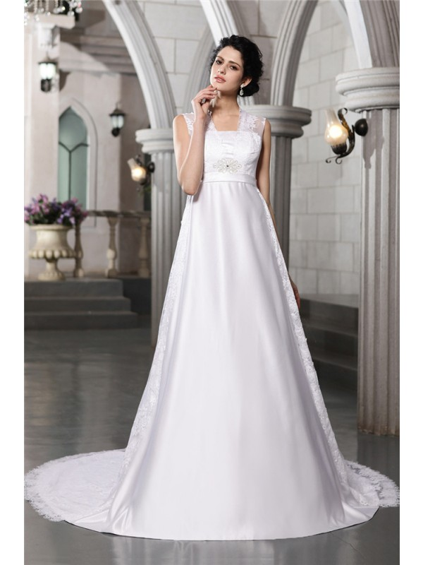 A-Line Straps Cathedral Train White Wedding Dresses with Lace