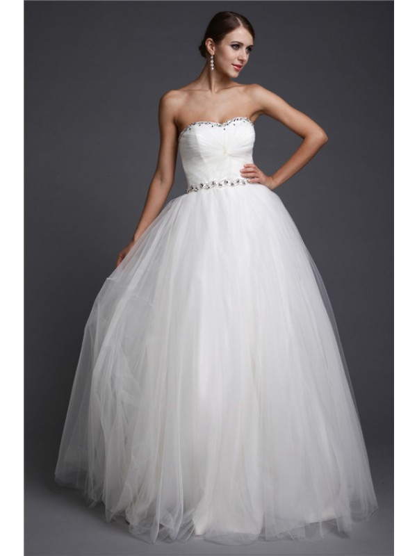 Net Sweetheart Floor-Length White Prom Dresses