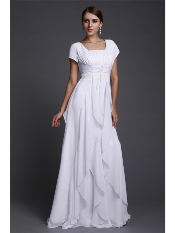 A-Line Chiffon Short Sleeves Square Floor-Length Prom Dresses with Ruffles