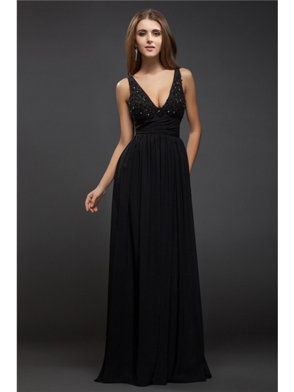 Sheath V-neck Floor-Length Black Prom Dresses with Beading