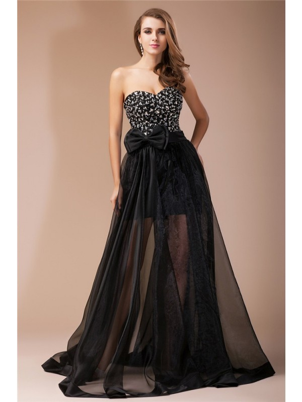 Sheath Sweetheart Floor-Length Black Prom Dresses