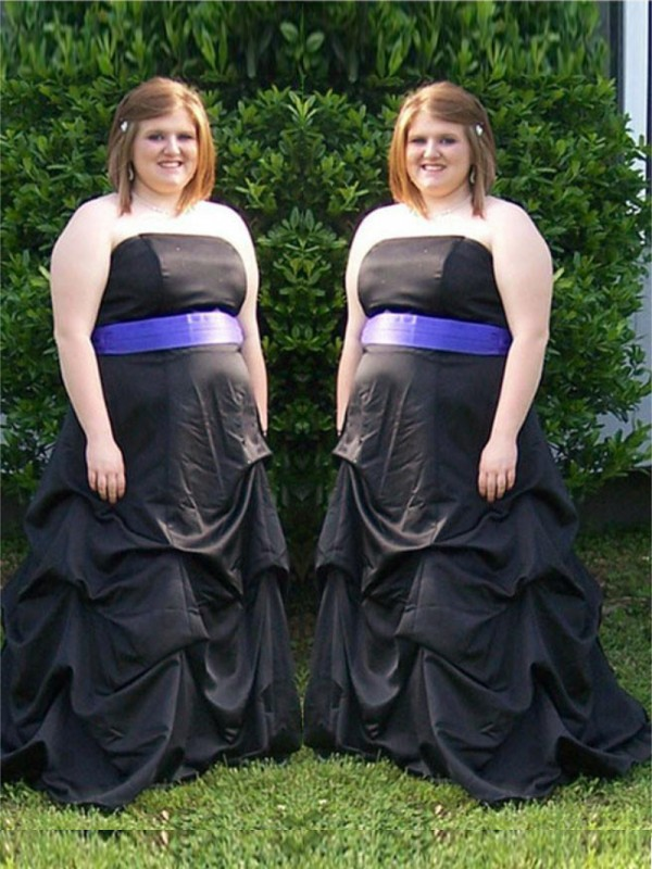 A-Line Strapless Brush Train Black Prom Dresses