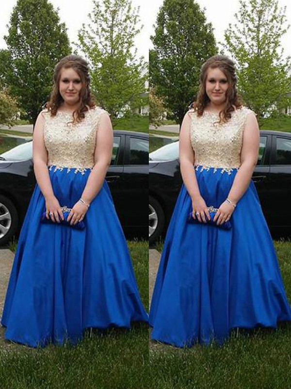 A-Line Scoop Brush Train Royal Blue Prom Dresses