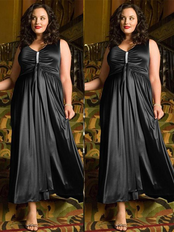 Elastic Woven Satin A-Line Ankle-Length V-neck Black Prom Dresses