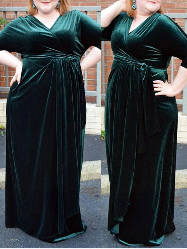 Dark Green V-neck Floor-Length Prom Dresses