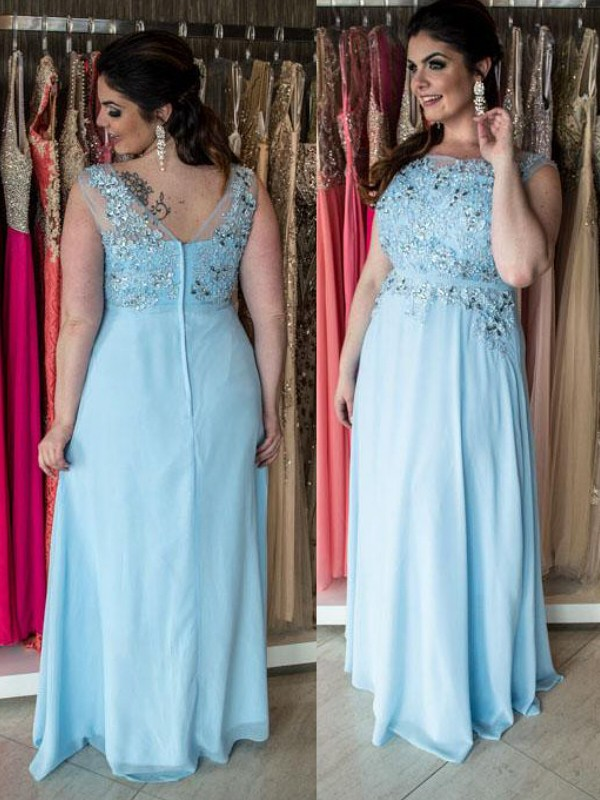 Bateau Floor-Length Blue Prom Dresses with Beading