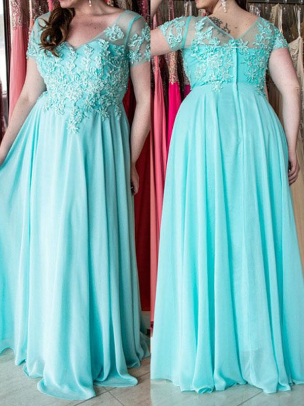 A-Line Chiffon Short Sleeves Sweetheart Floor-Length Blue Prom Dresses