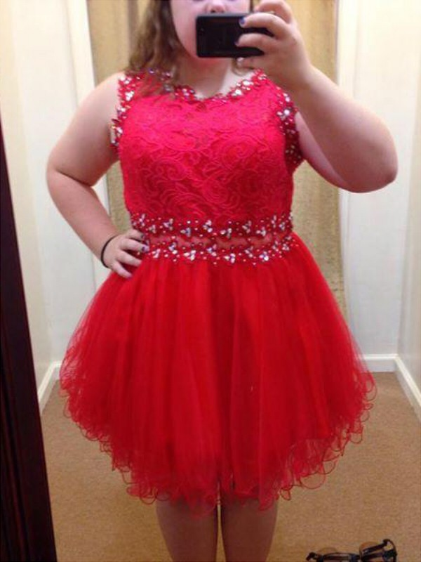 A-Line Scoop Short/Mini Red Prom Dresses