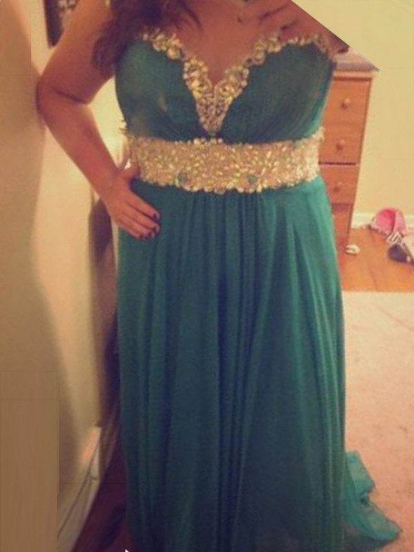 Green A-Line Sheer Neck Brush Train Prom Dresses with Beading
