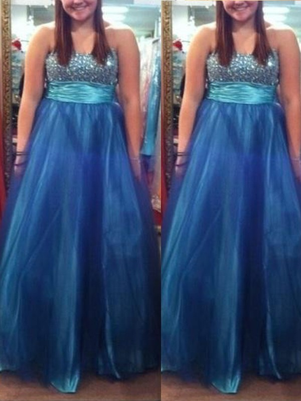 Sweetheart Floor-Length Blue Prom Dresses with Beading