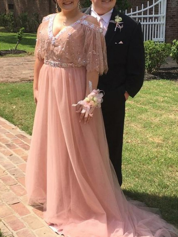 A-Line V-neck Court Train Pearl Pink Prom Dresses