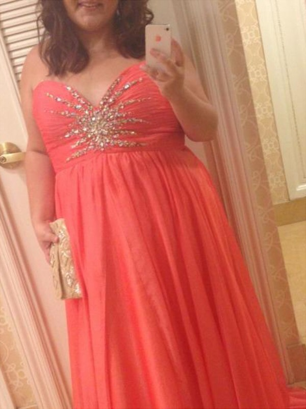 A-Line Sweetheart Floor-Length Watermelon Prom Dresses