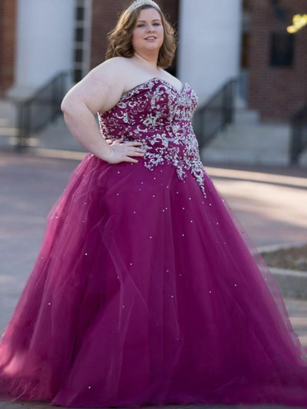 Ball Gown Sweetheart Floor-Length Grape Prom Dresses with Beading