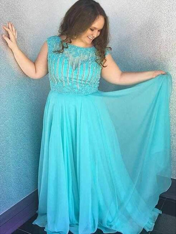 Brush Train Blue Bateau Prom Dresses with Beading