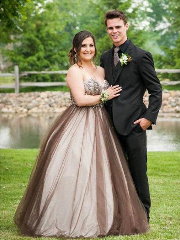 Tulle Sweetheart Floor-Length Brown Prom Dresses