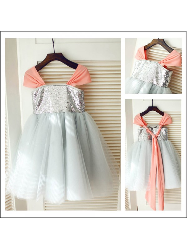 A-Line Straps Tea-Length Grey Flower Girl Dresses