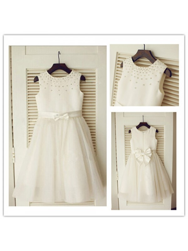 Scoop Tea-Length Ivory Flower Girl Dresses with Bowknot