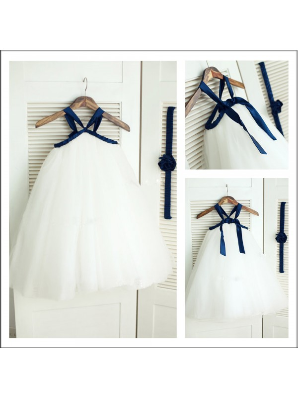 A-Line Tulle Spaghetti Straps Long White Flower Girl Dresses