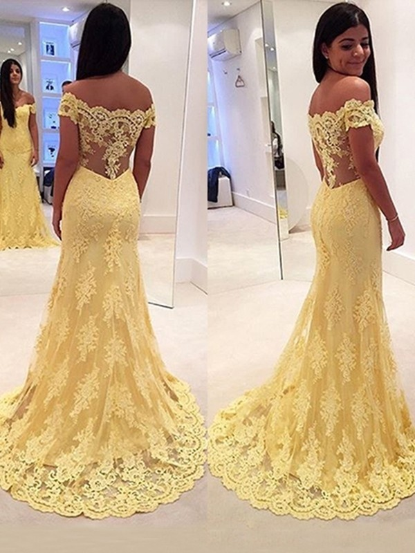 Mermaid Off-the-Shoulder Sleeveless Lace Brush Train Dresses