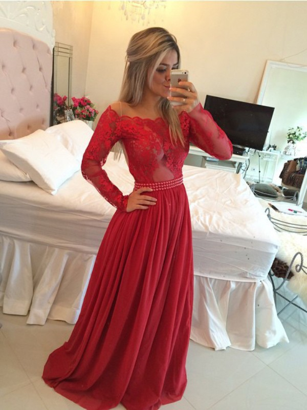 Long Sleeves A-Line Off-the-Shoulder Brush Train Red Prom Dresses