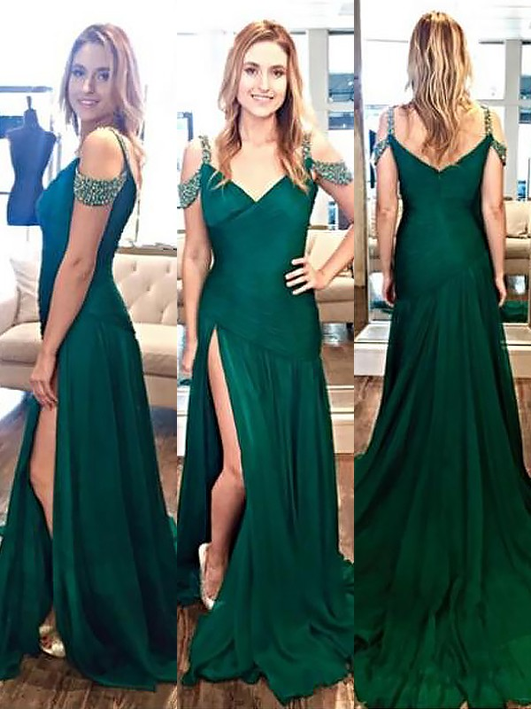 Chiffon A-Line Brush Train Halter Dark Green Prom Dresses