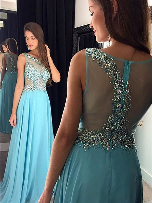 A-Line Bateau Floor-Length Light Sky Blue Prom Dresses with Beading