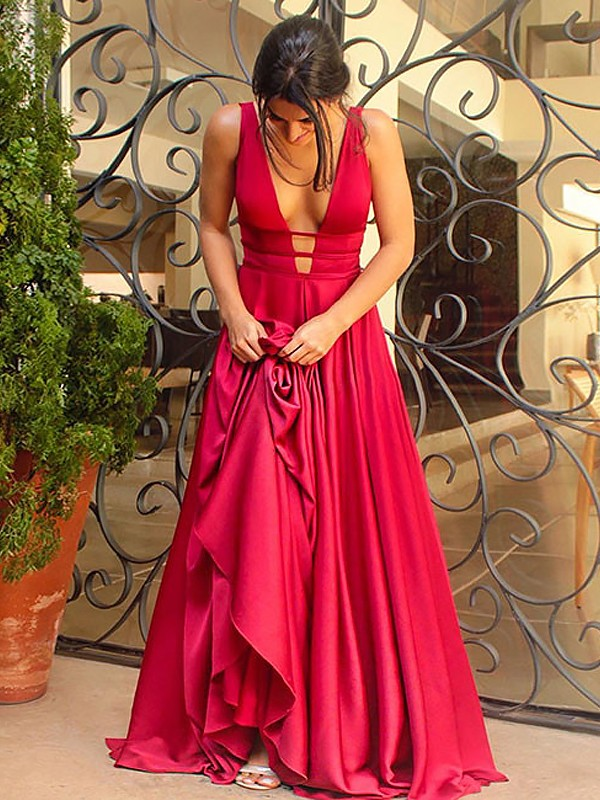 A-Line Elastic Woven Satin V-neck Brush Train Red Prom Dresses