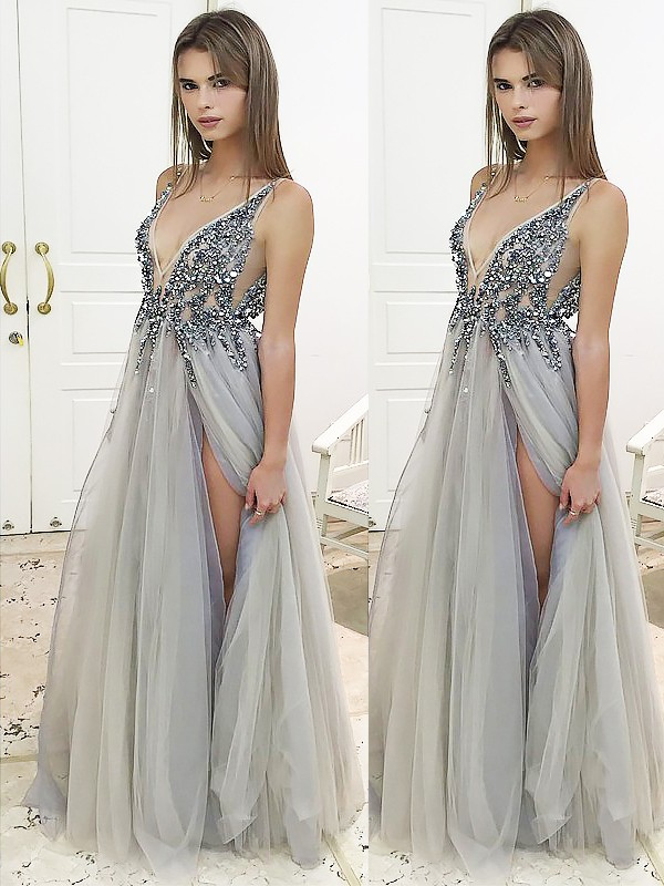 V-neck Floor-Length Silver Prom Dresses with Beading