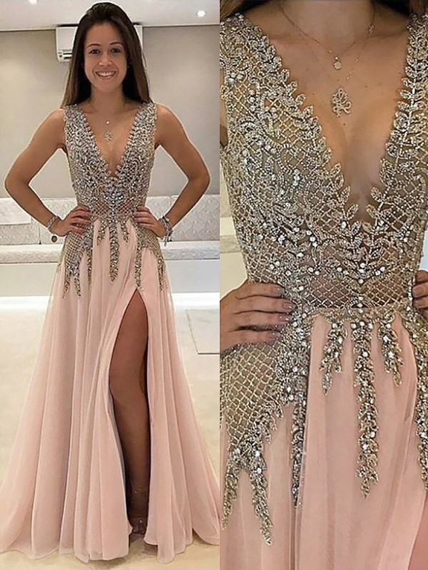 A-Line Tulle V-neck Brush Train Pink Prom Dresses