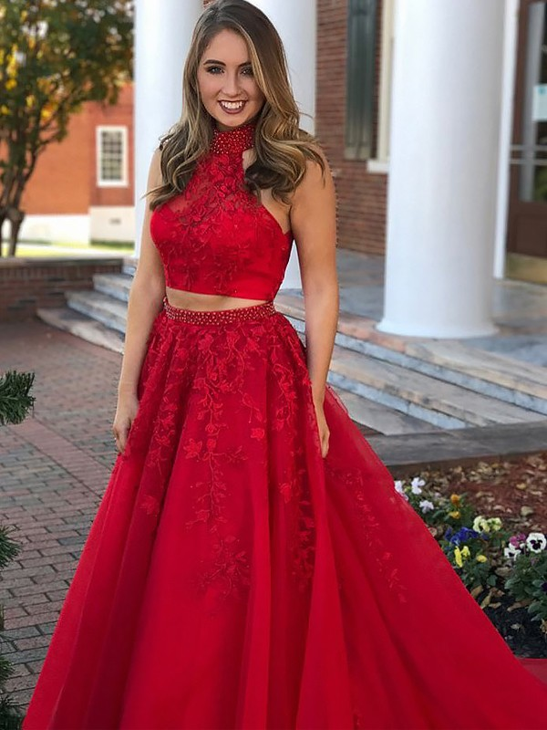 Tulle Halter Floor-Length Red Prom Dresses