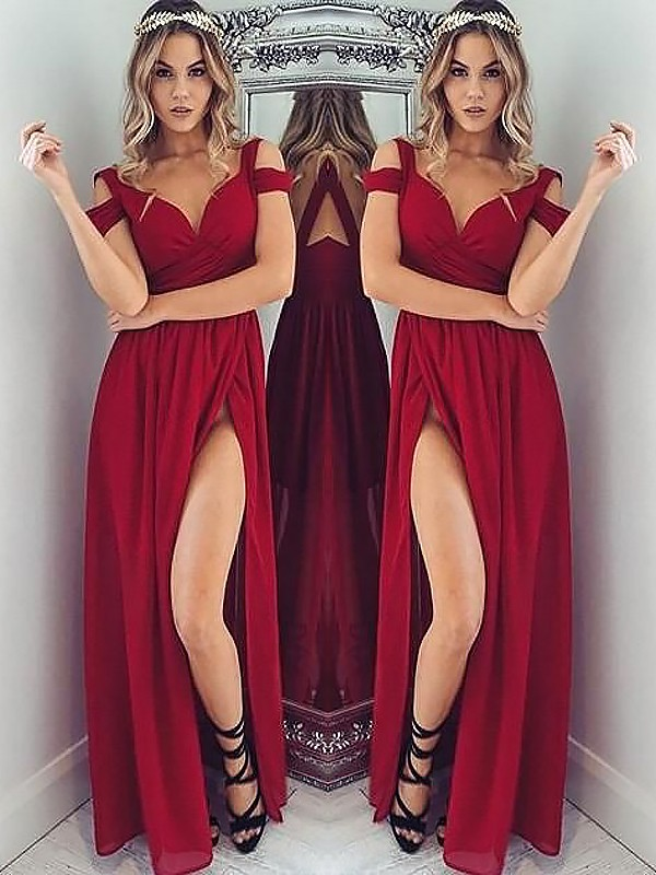 A-Line Off-the-Shoulder Floor-Length Burgundy Prom Dresses with Ruched