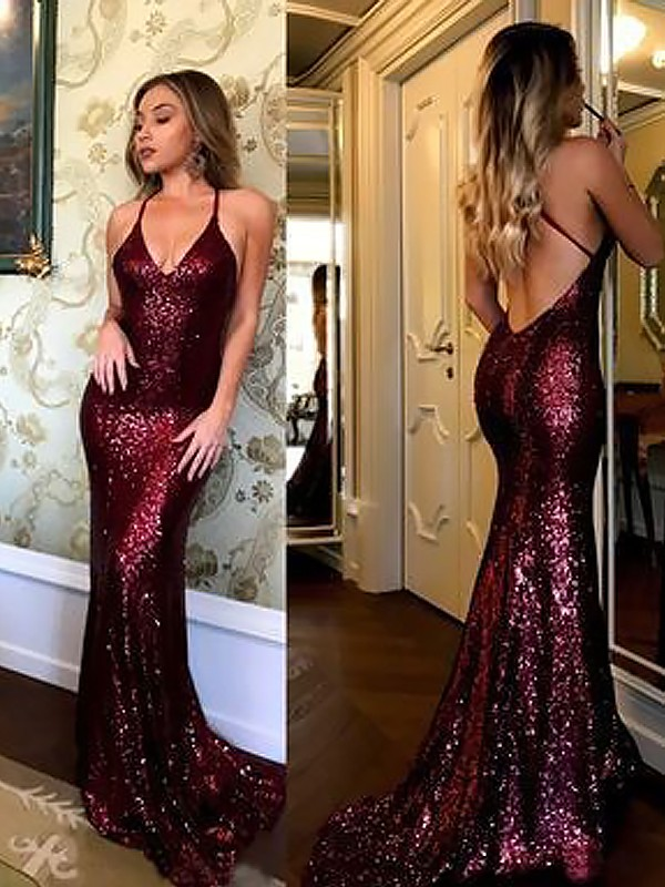 Sheath Sequins V-neck Brush Train Burgundy Prom Dresses