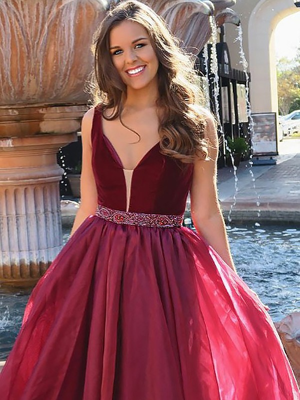 Burgundy A-Line V-neck Floor-Length Prom Dresses with Beading