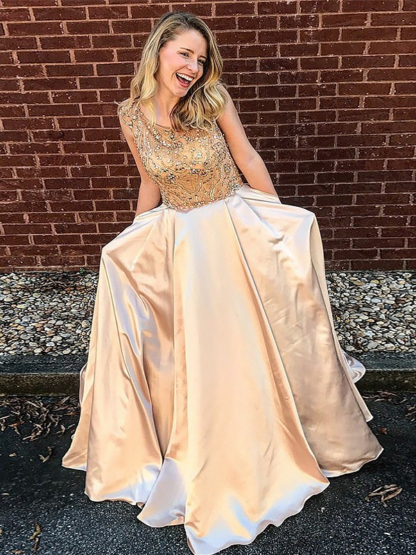 Floor-Length Gold Scoop Prom Dresses with Beading