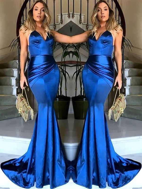 Satin Sheath Brush Train V-neck Royal Blue Prom Dresses