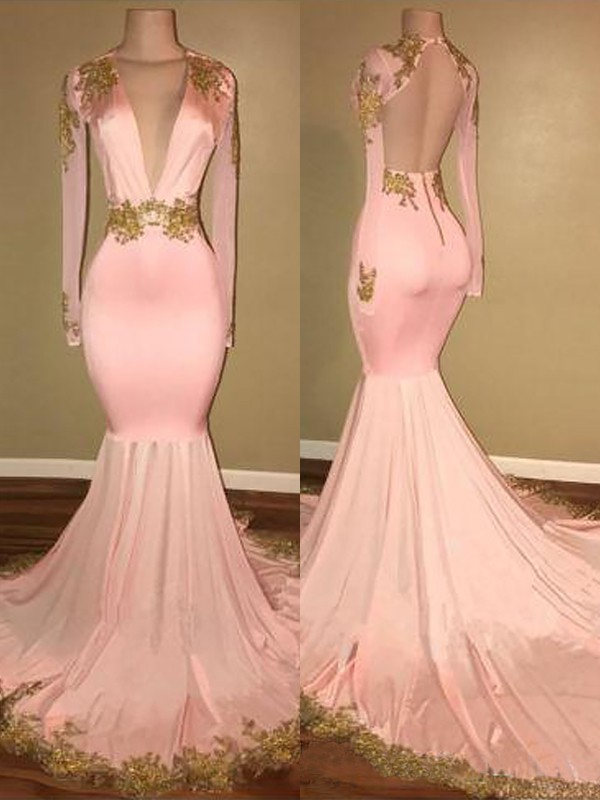 Mermaid V-neck Brush Train Pink Prom Dresses with Applique