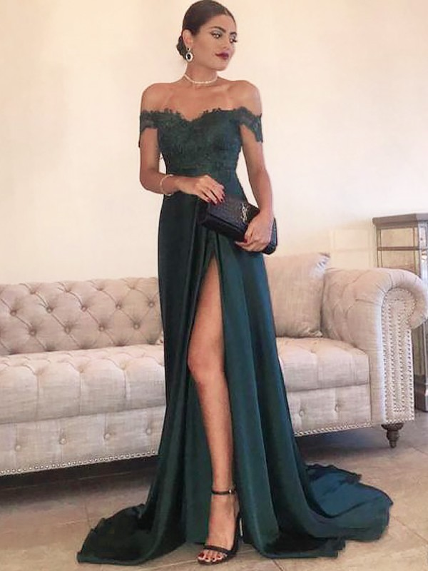 Satin A-Line Brush Train Off-the-Shoulder Dark Green Prom Dresses