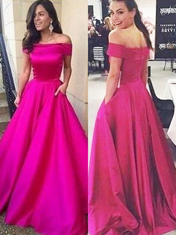 Fuchsia Off-the-Shoulder Satin Brush Train Prom Dresses