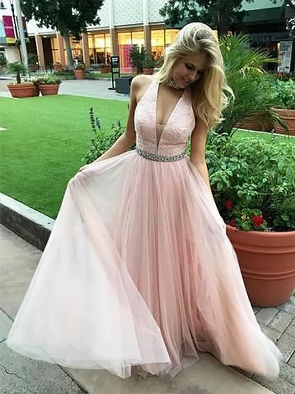 V-neck Floor-Length Pink Prom Dresses with Beading