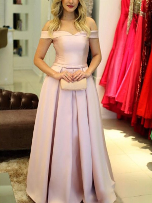 Satin Off-the-Shoulder Floor-Length Pink Prom Dresses