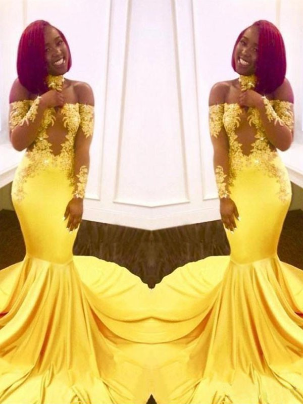 Long Sleeves Mermaid Off-the-Shoulder Brush Train Yellow Prom Dresses