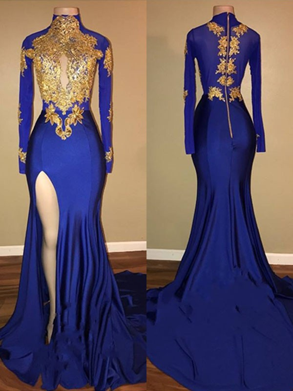 Spandex Mermaid Brush Train High Neck Royal Blue Prom Dresses