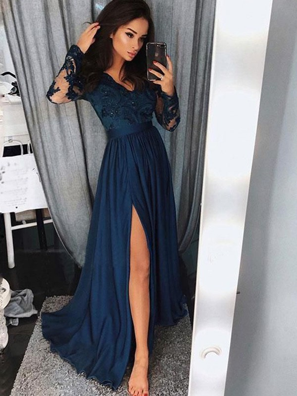 A-Line V-neck Brush Train Blue Prom Dresses